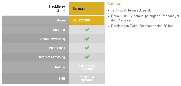 paket blackberry xl 3 in 1 unlimited Paket Blackberry XL